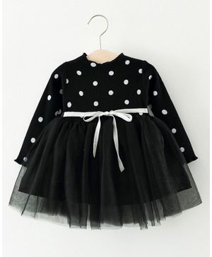 Pre Order - Awabox Full Sleeves Polka Dot Print Tulle Flare Dress - Black