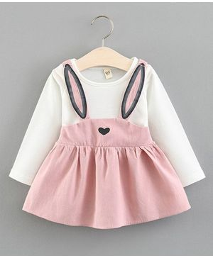 Awabox Full Sleeves Pinafore Style Bunny Pattern Dress - Pink