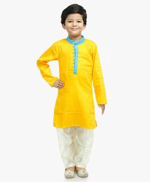Little Pockets Store Self Print Full Sleeves Solid Kurta - Yellow