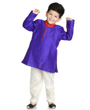 Little Pockets Store Self Print Full Sleeves Solid Kurta - Blue