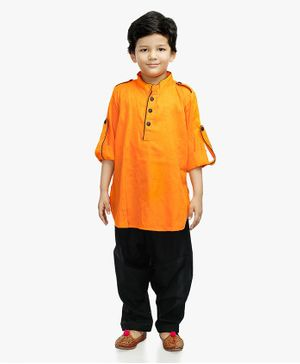 Little Pockets Store Self Design Roll Up Full Sleeves Kurta & Pathani Set - Yellow