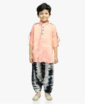 Little Pockets Store Roll Up Full Sleeves Tie Dye Kurta & Pathani Set - Light Pink