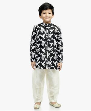 Little Pockets Store Bird Print Full Sleeves Kurta - Black