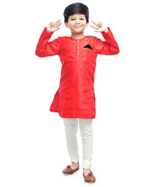 Little Pockets Store Solid Full Sleeves Kurta With Pocket Liner - Red