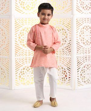 Ethniks Neu Ron Full Sleeves Kurta Pyjama Set - Orange