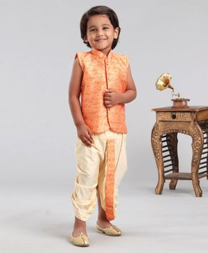 Ethnik's Neuron Sleeveless Cotton Self Print Kurta Dhoti Set - Orange