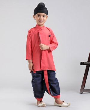 Ethnik's Neuron Full Sleeves Cotton Solid Kurta Dhoti Set - Coral