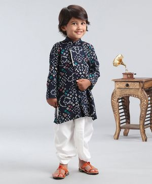 Ethnik's Neuron Full Sleeves Bandhani Kurta & Dhoti Set - Navy Blue
