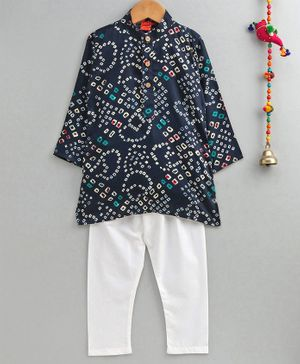 Ethnik's Neuron Full Sleeves Bandhani Kurta & Pyjama Set - Navy Blue
