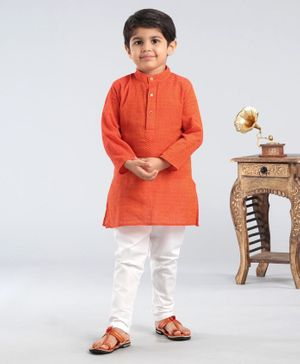 Ethnik's Neu Ron Full Sleeves Handloom Cotton Embroidered Kurta Pyjama Set - Orange