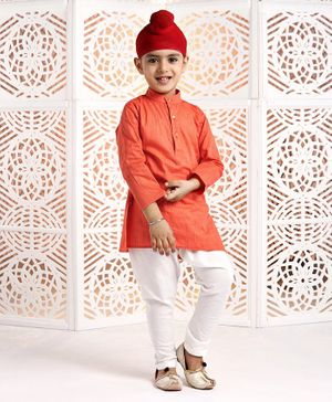 Ethnik's Neu Ron Full Sleeves Kurta And Pyjama Set - Orange White