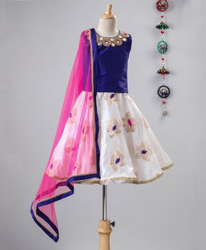 Li&Li BOUTIQUE Beaded Mirror Work Sleeveless Choli With Lehenga & Dupatta - Blue & Off White
