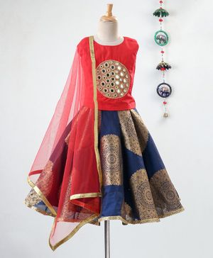 Li&Li BOUTIQUE Beaded Mirror Work Sleeveless Choli With Lehenga & Dupatta - Orange & Navy Blue