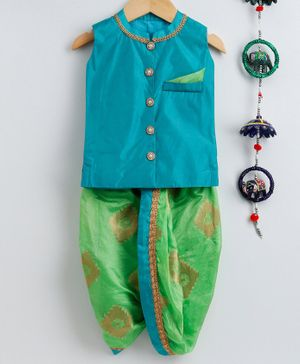 Li&Li BOUTIQUE Sleeveless Kurta With Printed Dhoti - Aqua Blue & Parrot Green