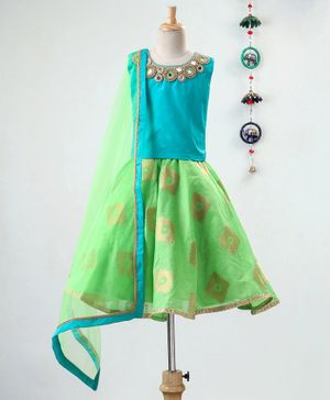 Li&Li BOUTIQUE Beaded Mirror Work Sleeveless Choli With Lehenga & Dupatta  - Blue & Green