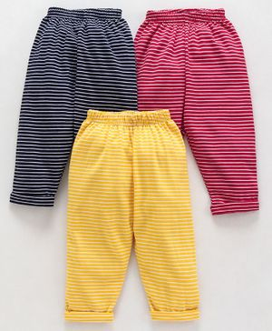 Doreme Full Length Striped Lounge Pants Pack of 3 - Red Yellow Navy Blue