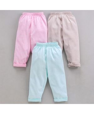 Doreme Full Length Striped Lounge Pants Pack of 3 - Grey Pink Blue