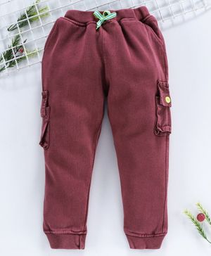 Yellow Apple Winter Wear Full Length Jogger Pants With Drawstring - Maroon