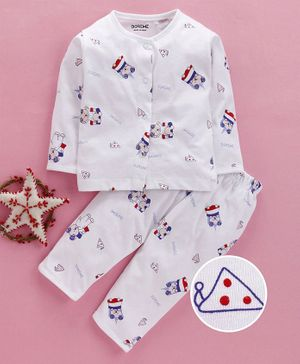 Doreme Full Sleeves Night Suit Teddy Print - White