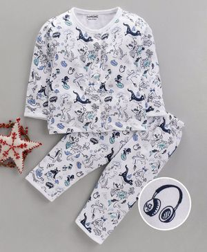 Doreme Full Sleeves Night Suit Dino Print - White Blue