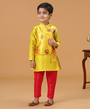 Varsha Showering Trends Flowers Printed Full Sleeves Kurta With Attached Jacket & Payjama Set - Yellow & Red