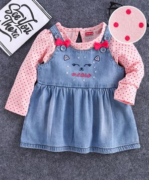 Babyhug Dungaree Style Frock With Full Sleeves Tee Dot Print - Peach