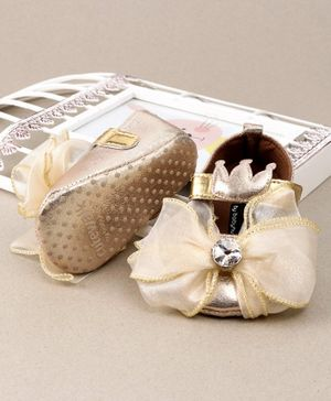 Cute Walk by Babyhug Party Wear Booties Studded Bow Applique - Golden