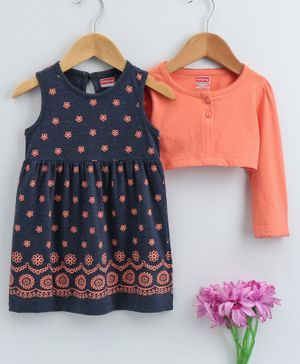 Babyhug Frock With Full Sleeves Shrug Floral Print - Coral Navy