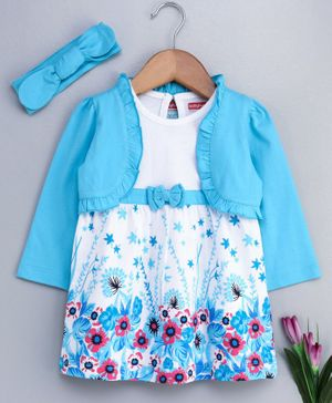 Babyhug Sleeveless Frock With Full Sleeves Shrug & Matching Hairband Floral Print - Blue