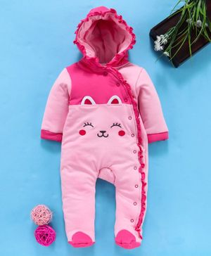 Babyhug Full Sleeves Hooded Romper Kitty Patch - Pink