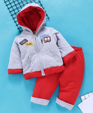 Babyhug Winter Wear Full Sleeves Hooded Sweat Jacket And Lounge Pant Bus Embroidery - Grey Red