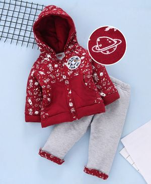 Babyhug Full Sleeves Hooded Sweat Jacket And Bottoms Rocket Patch - Red Grey