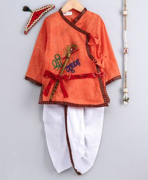 Bownbee Kanhaiya Style Embroidered Full Sleeves Kurta With Dhoti Mukut Bansuri & Patta - Orange & White