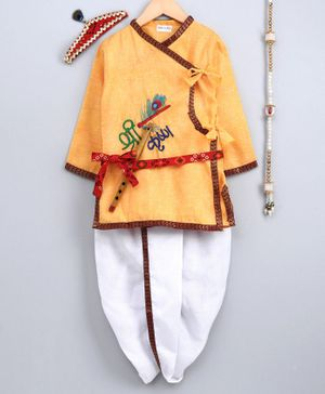 Bownbee Kanhaiya Style Embroidered Full Sleeves Kurta With Dhoti Mukut Bansuri & Patta - Yellow & White