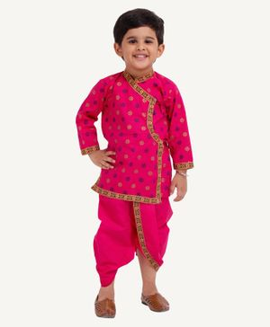 Bownbee Full Sleeves Motif Design Kurta With Dhoti - Pink