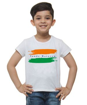 M'andy Vande Mataram Print Half Sleeves T-Shirt - White
