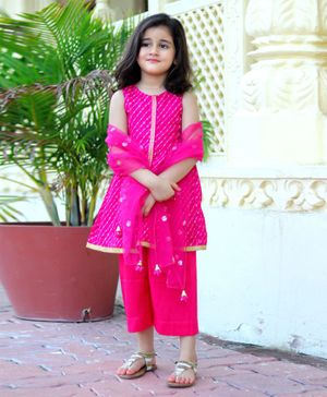 Piccolo Sleeveless Gota Patti Work Kurta With Pants & Dupatta - Dark Pink