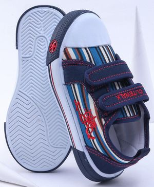 Cute Walk by Babyhug Stripe Canvas Shoes - Navy Blue White