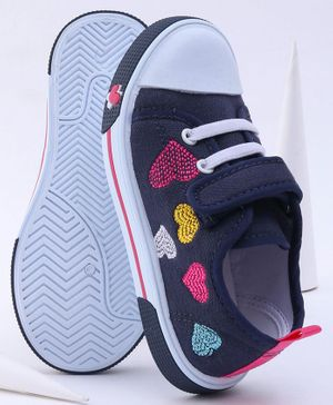 Cute Walk by Babyhug Casual Shoes Heart Embroidery - Navy Blue