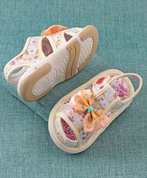 Cute Walk by Babyhug Sandals Bow Applique - Beige