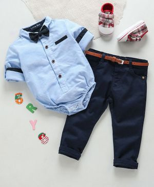 Happiness Full Sleeves Shirt Style Onesie With Trouser & Bow - Light Blue