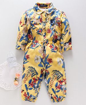 Happiness Full Sleeves Romper Floral Print - Yellow