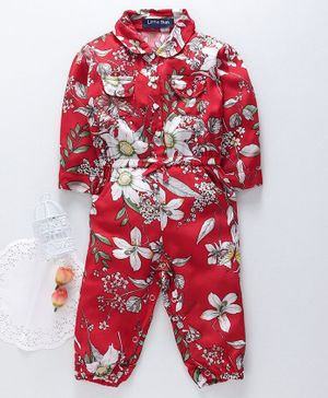 Happiness Full Sleeves Romper Floral Print - Red