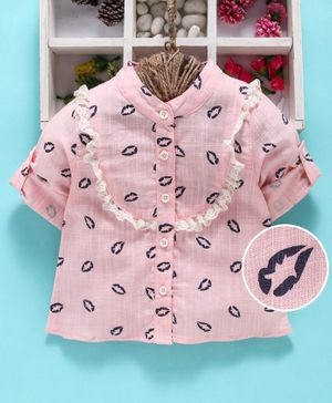 Reiki Trees Full Sleeves Printed Shirt - Pink