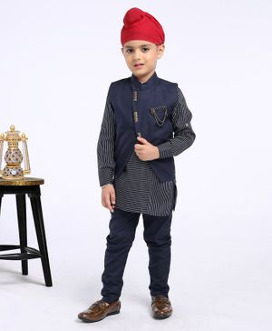 Dapper Dudes Striped Full Sleeves Kurta With Jacket & Pajama - Navy Blue