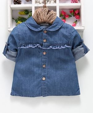 Reiki Trees Full Sleeves Collar Neck Denim Shirt - Blue