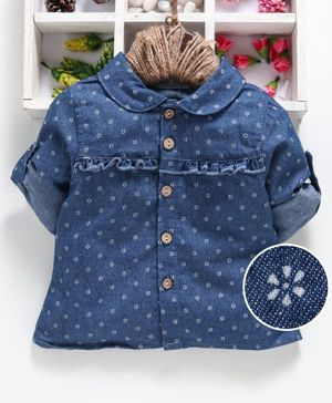 Reiki Trees Full Sleeves Shirt Floral Print - Blue