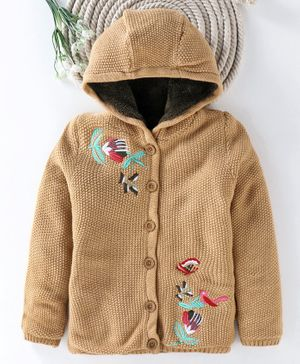 Yellow Apple Full Sleeves Hooded Sweater Flower Embroidery - Beige