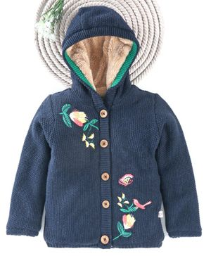 Yellow Apple Full Sleeves Hooded Sweater Flower Embroidery - Navy