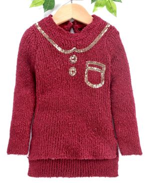Yellow Apple Winter Wear Full Sleeves Sweater Sequin Design - Maroon